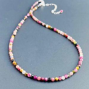 Multi Tourmaline Choker Necklace Sterling Silver